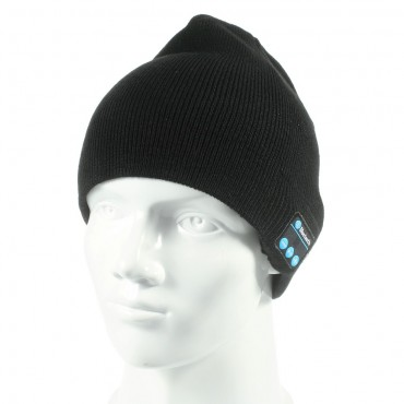 Cap bluetooth čepice s integrovanými reproduktory, ovladačem a mikrofonem - černá