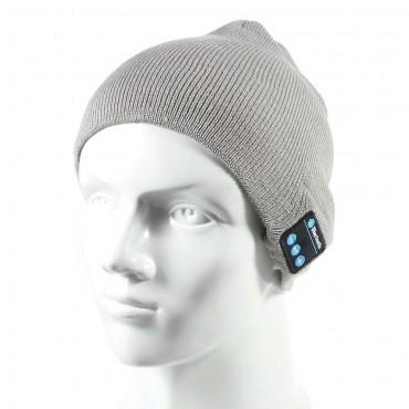 Cap bluetooth čepice s integrovanými reproduktory, ovladačem a mikrofonem - šedá