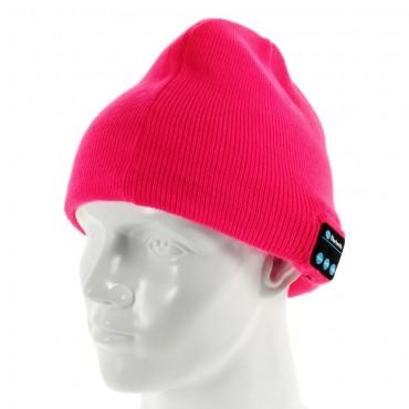 Cap bluetooth čepice s integrovanými reproduktory, ovladačem a mikrofonem - růžová