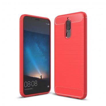 """TPU gelový obal """"Brushed Carbon"""" pro Huawei Mate 10 Lite - červený"""
