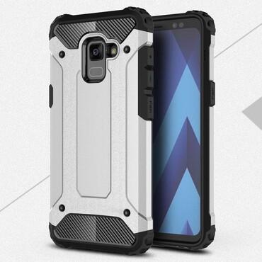 """Robustní kryt """"Rock"""" pro Samsung Galaxy A8 2018 - stříbrné barvy"""