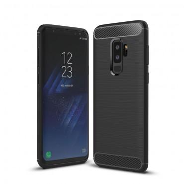 "TPU gelový obal ""Brushed Carbon"" pro Samsung Galaxy S9 Plus - černý"