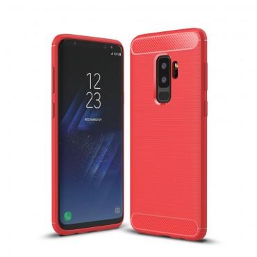 "Kryt TPU gel ""Brushed Carbon"" pro Samsung Galaxy S9 Plus - červené"
