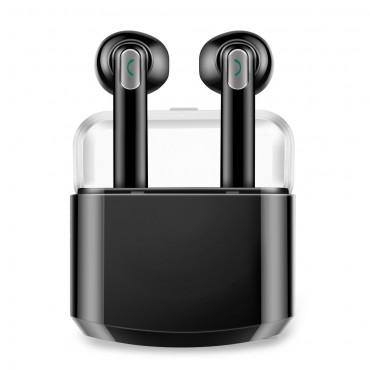 """Bezdrátová Bluetooth sluchátka """"Duo"""" s přenosnou nabíjecí stanicí – černá"""