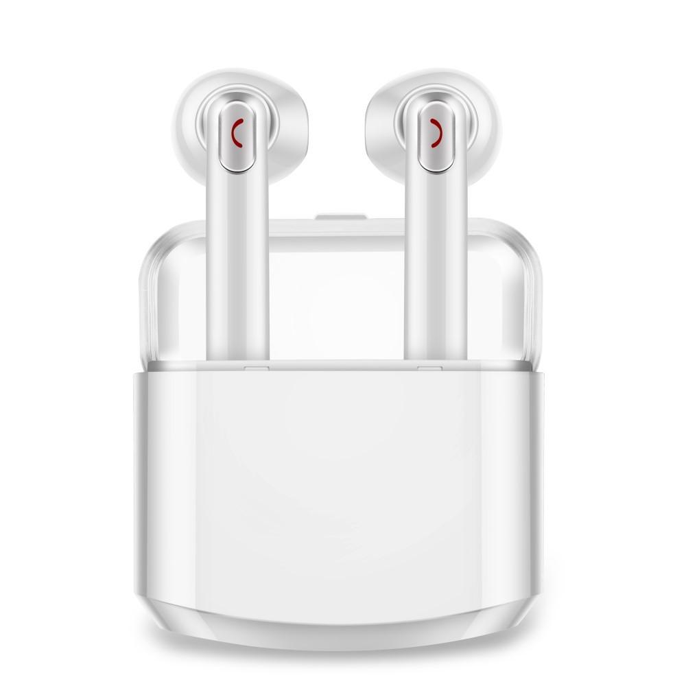 """Bezdrátová Bluetooth sluchátka """"Duo"""" s přenosnou nabíjecí stanicí – bele"""