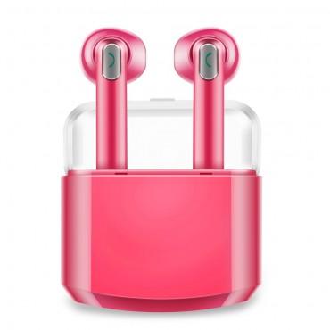 """Bezdrátová Bluetooth sluchátka """"Duo"""" s přenosnou nabíjecí stanicí – růžové"""