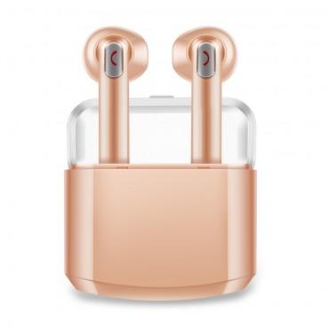 """Bezdrátová Bluetooth sluchátka """"Duo"""" s přenosným nabíjecím pouzdrem - zlaté barvy"""