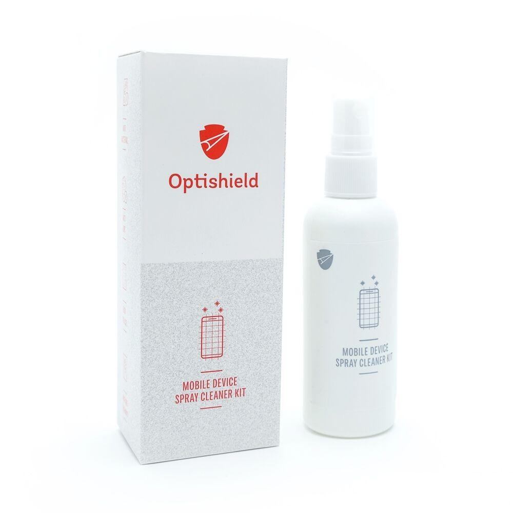 Čistící sprej Optishield a hadřík z mikrovlákna 2v1 pro displeje mobilních zařízení