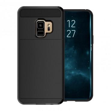 """Hybridní kryt TPU gel """"Slot"""" pro Samsung Galaxy S9 - černé"""