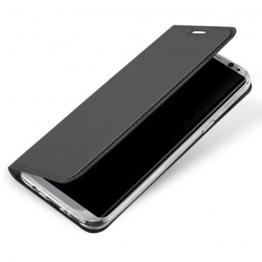 """Módní kryt z umělé kůže """"Skin"""" pro Samsung Galaxy S8 - šedý"""