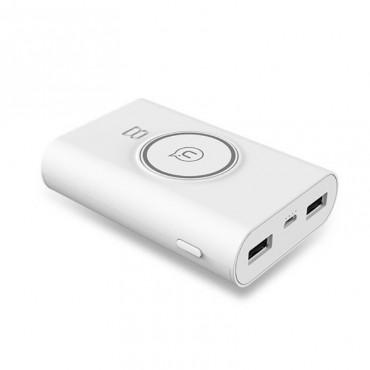 """Powerbanka a bezdrátová nabíjecí stanice """"Ghost"""" pro všechna mobilní zařízení s technologií QI – 8000 mAh – bílá"""