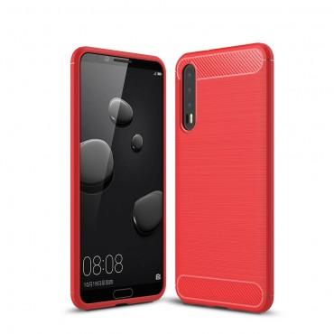"Kryt TPU gel ""Brushed Carbon"" pro Huawei P20 Pro - červené"