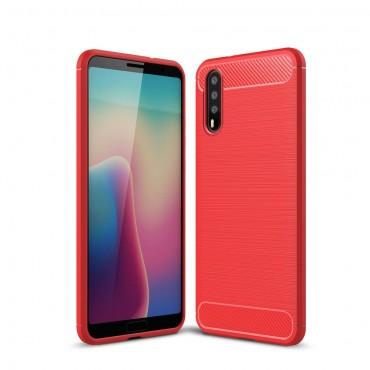 "TPU gelový obal ""Brushed Carbon"" pro Huawei P20 - červený"