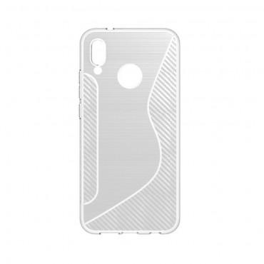 "Kryt TPU gel ""S-Line"" pro Huawei P20 Lite - průhledný"