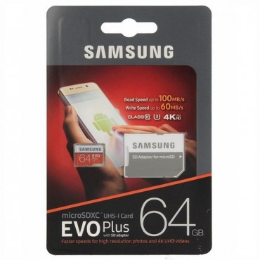 MicroSDXC paměťová karta Samsung Evo Plus Class 10 UHS-I 100 MB/s - 64 GB