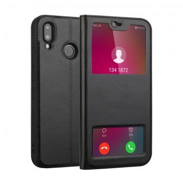 """Módní pouzdro """"Dualty"""" pro Huawei P20 Lite z pravé kůže - černé"""