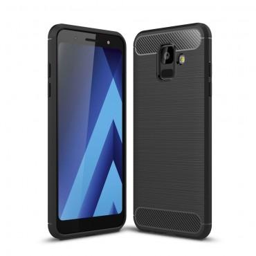 "TPU gelový obal ""Brushed Carbon"" pro Samsung Galaxy A6 2018 - černý"