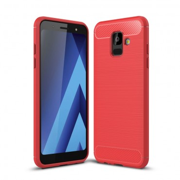 """TPU gelový obal """"Brushed Carbon"""" pro Samsung Galaxy A6 2018 - červený"""