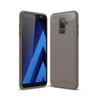 "TPU gelový obal ""Brushed Carbon"" pro Samsung Galaxy A6 Plus 2018 - šedý"