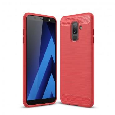 "Kryt TPU gel ""Brushed Carbon"" pro Samsung Galaxy A6 Plus 2018 - červené"