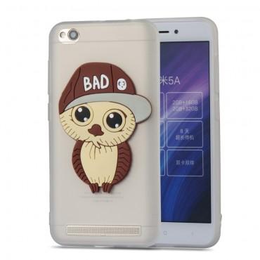 "Kryt TPU gel ""Bad Owl"" pro Xiaomi Redmi 5A - bílý"