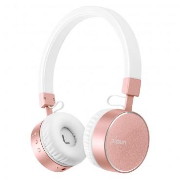 """Bluetooth sluchátka přes uši """"Brushed"""" - bílé-růžová"""