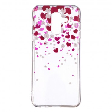 "Tenký TPU gelový obal ""Hearts"" pro Samsung Galaxy A6 Plus 2018"