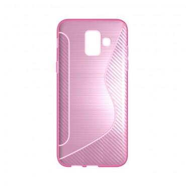 """TPU gelový obal """"S-Line"""" Samsung Galaxy A6 2018 - růžový"""