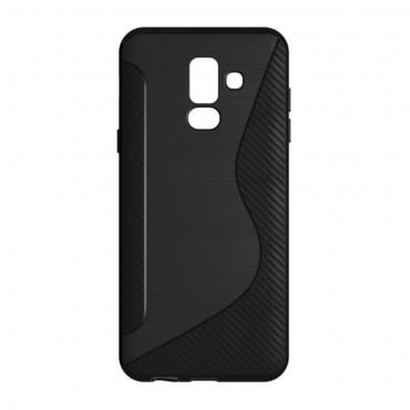 "Kryt TPU gel ""S-Line"" pro Samsung Galaxy A6 Plus 2018 - černý"