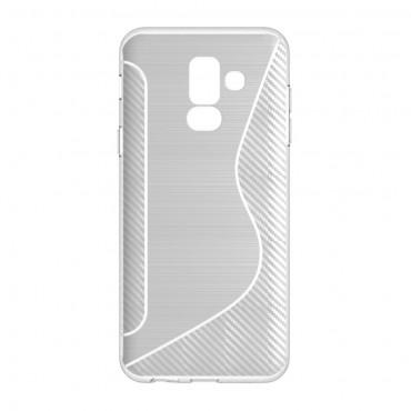 "Kryt TPU gel ""S-Line"" pro Samsung Galaxy A6 Plus 2018 - průhledný"