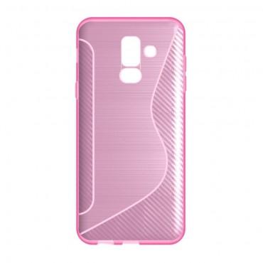 "Kryt TPU gel ""S-Line"" pro Samsung Galaxy A6 Plus 2018 - růžový"