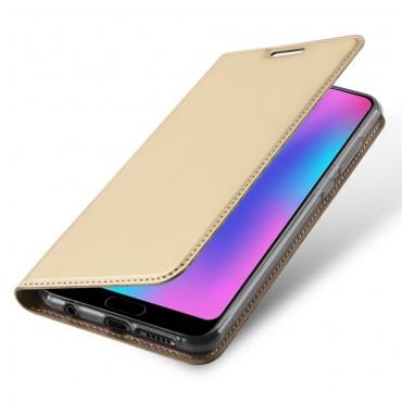 """Módní kryt z umělé kůže """"Skin"""" pro Huawei Honor 10 - zlaté barvy"""