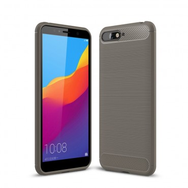 "TPU gelový obal ""Brushed Carbon"" pro Huawei Y6 2018 / Honor 7A - šedý"