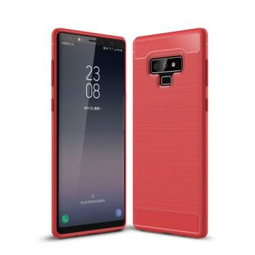 """Kryt TPU gel """"Brushed Carbon"""" pro Samsung Galaxy Note 9 - červené"""