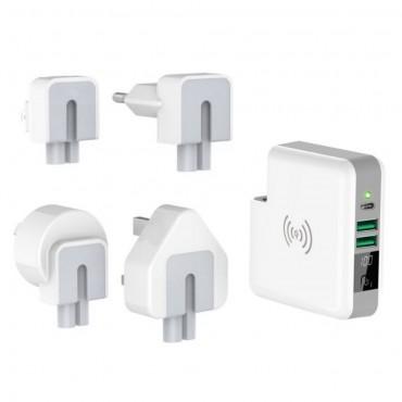 Powerbanka, bezdrátová QI nabíjecí stanice a cestovní adaptér - 6 700 mAh - bílé