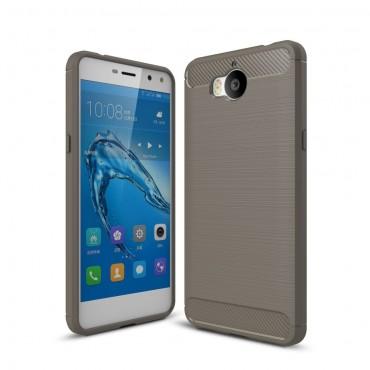 """TPU gelový obal """"Brushed Carbon"""" pro Huawei Y5 2017 / Y6 2017 - šedý"""