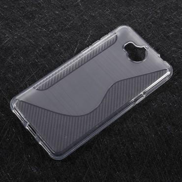 """TPU gelový obal """"S-Line"""" Huawei Y5 2017 / Y6 2017 - průhledný"""