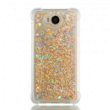 """Módní kryt """"Liquid Glitter"""" pro Huawei Y5 2017 / Y6 2017 - zlatý"""