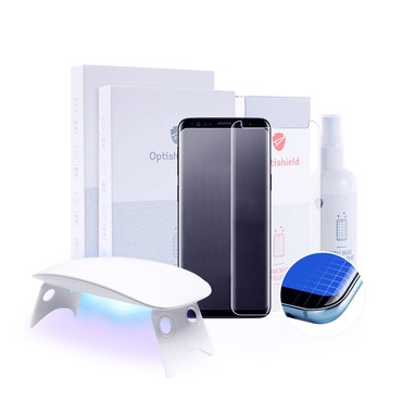 2x Premium ochranné sklo Optishield Lux pro Samsung Galaxy S8 Plus + UV lampa