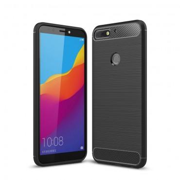 """Kryt TPU gel """"Brushed Carbon"""" pro Huawei Y7 Prime 2018 / Y7 2018 - černý"""