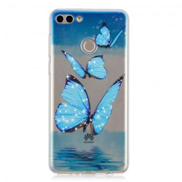 """Tenký kryt TPU gel """"Blue Butterfly"""" pro Huawei Y7 Prime 2018 / Y7 2018"""