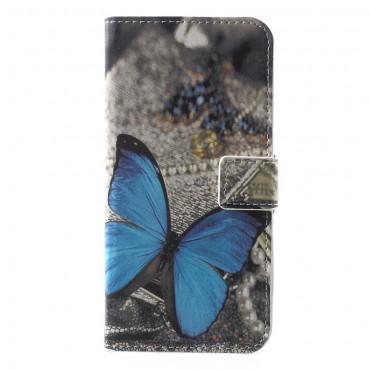 """Módní pouzdro """"Blue Butterfly"""" pro Huawei Y5 2018 / Y5 Prime 2018 - roza"""