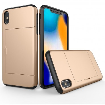 """Hybridní kryt TPU gel """"Slot"""" pro iPhone Xs Max - zlatý"""