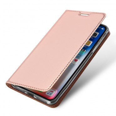 """Módní pouzdro """"Skin"""" pro iPhone Xs Max z umělé kůže - růžové"""