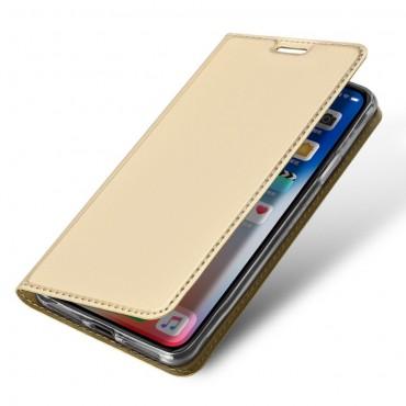 """Módní pouzdro """"Skin"""" pro iPhone Xs Max z umělé kůže - zlatý"""