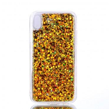 "Módní kryt ""Liquid Glitter"" pro iPhone XR - zlatý"