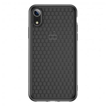 "Kryt TPU gel ""Woven"" pro iPhone XR - černý"