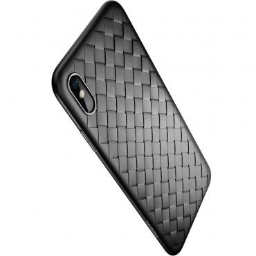 """TPU gelový obal """"Woven"""" pro iPhone XS Max - černý"""