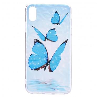 "Tenký TPU gelový obal ""Blue Butterfly"" pro iPhone XR"