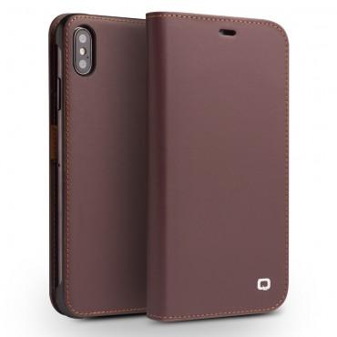 """Prémiový kožený obal Qialino """"Leather"""" pro iPhone XS Max - hnědý"""